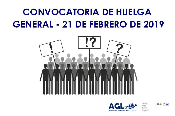CONVOCATORIA DE HUELGA GENERAL DEL 21 DE FEBRERO DE 2019