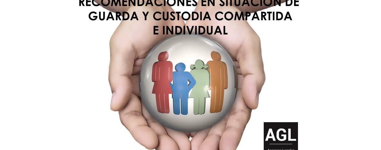RECOMENDACIONES EN RELACIÓN CON LAS SITUACIONES DE GUARDA Y CUSTODIA COMPARTIDA E INDIVIDUAL