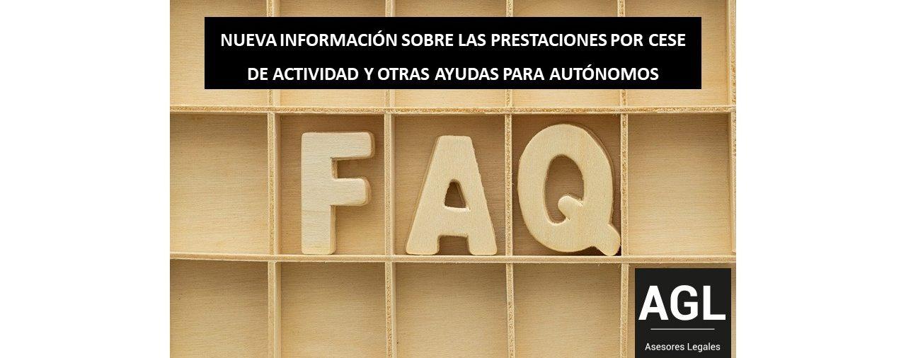 NUEVA INFORMACIÓN SOBRE LAS PRESTACIONES POR CESE DE ACTIVIDAD Y OTRAS AYUDAS PARA AUTÓNOMOS