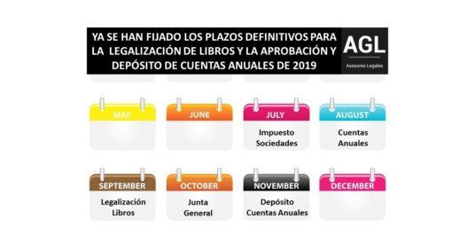 YA SE HAN FIJADO LOS PLAZOS DEFINITIVOS PARA LA  LEGALIZACIÓN DE LIBROS Y APROBACIÓN Y DEPÓSITO DE CUENTAS ANUALES DE 2019