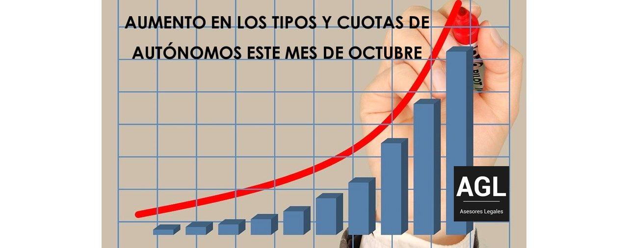 ACTUALIZACIÓN (AUMENTO) EN LOS TIPOS Y CUOTAS DE AUTÓNOMOS ESTE MES DE OCTUBRE