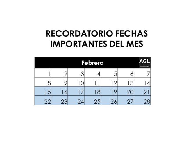 RECORDATORIO FECHAS IMPORTANTES MES DE FEBRERO