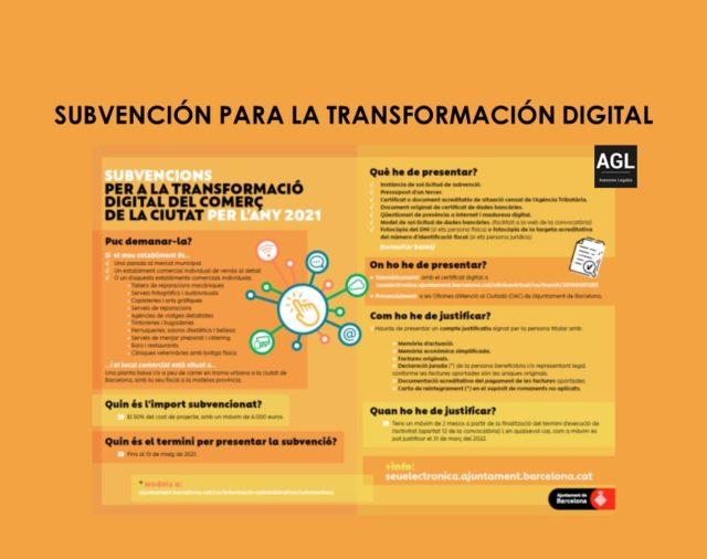 SUBVENCIÓN PARA LA TRANSFORMACIÓN DIGITAL DEL COMERCIO DE PROXIMIDAD Y LA RESTAURACIÓN